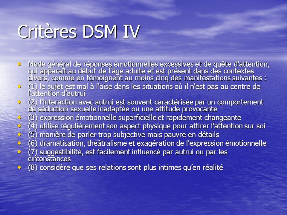 Critères DSM IV Mode général de réponses émotionnelles excessives et de quête d'attention, qui apparaît au début de l'âge adulte et est présent dans d