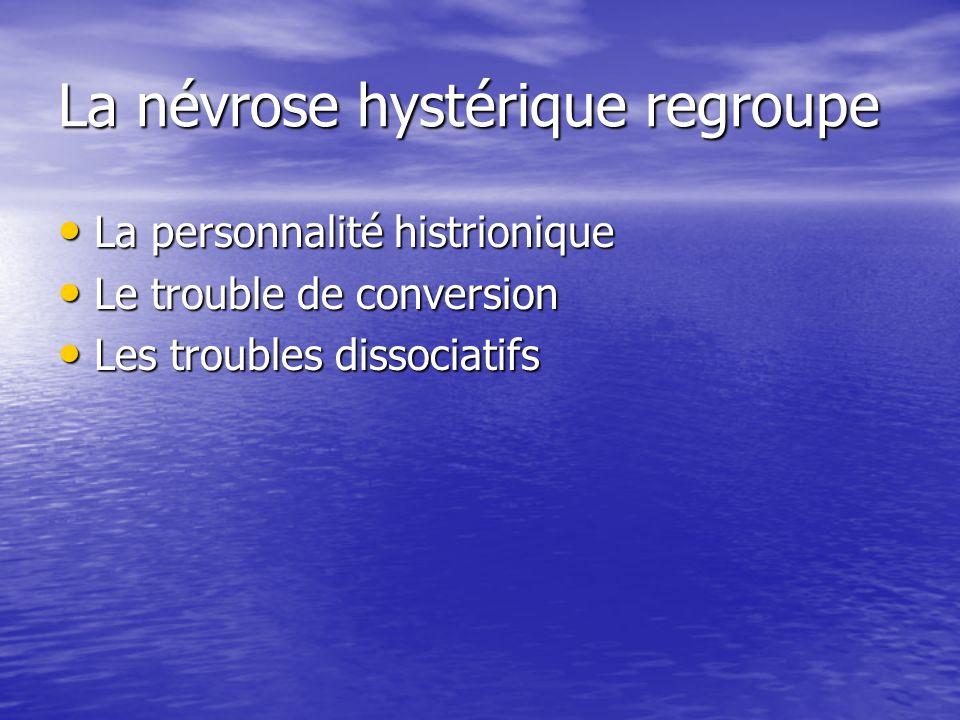 La névrose hystérique regroupe La personnalité histrionique La personnalité histrionique Le trouble de conversion Le trouble de conversion Les trouble