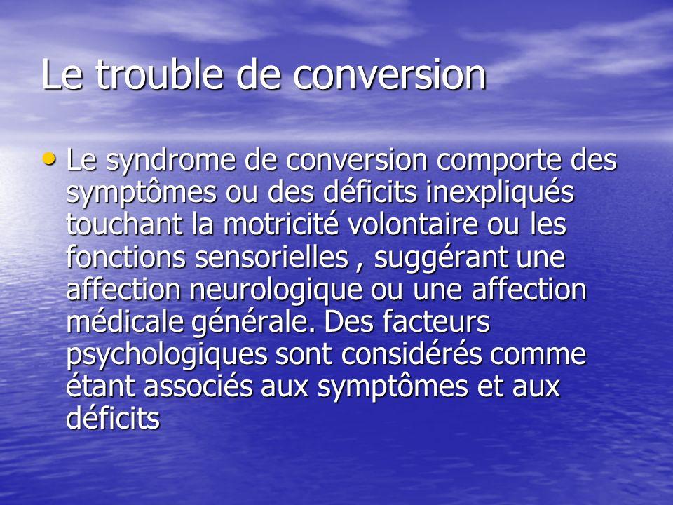 Le trouble de conversion Le syndrome de conversion comporte des symptômes ou des déficits inexpliqués touchant la motricité volontaire ou les fonction