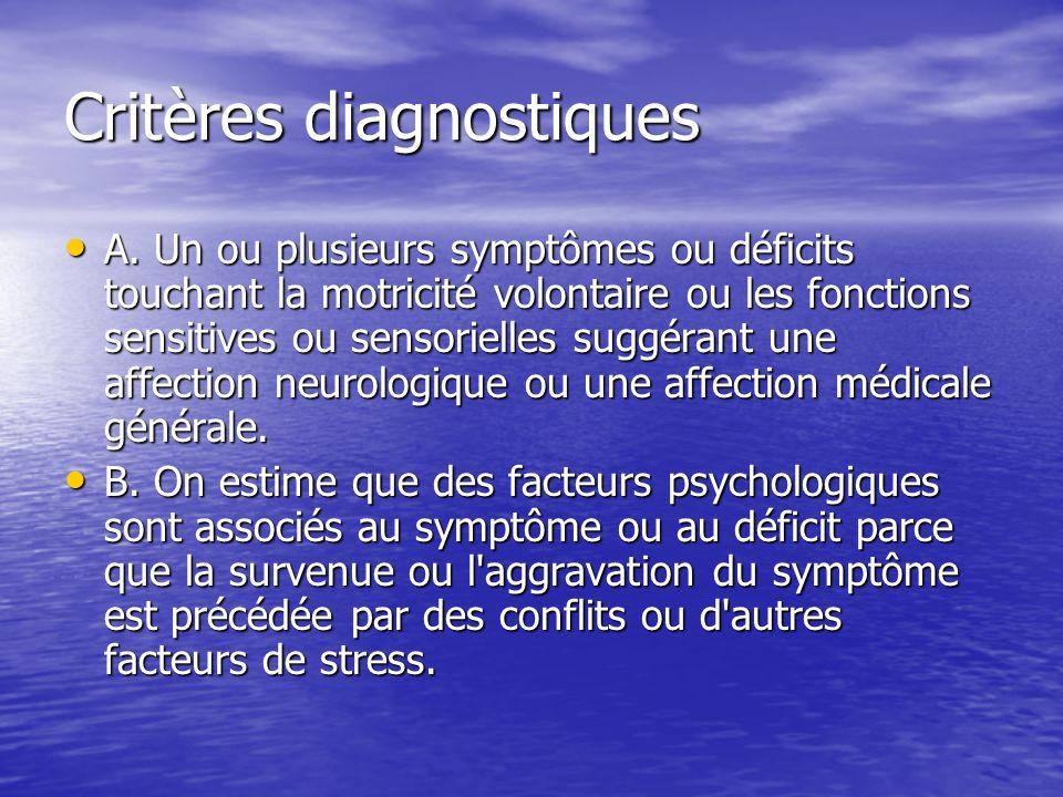 Critères diagnostiques A. Un ou plusieurs symptômes ou déficits touchant la motricité volontaire ou les fonctions sensitives ou sensorielles suggérant