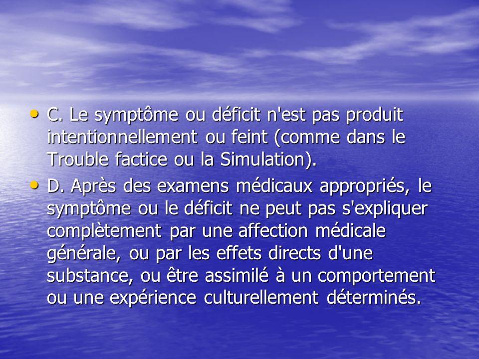 C. Le symptôme ou déficit n'est pas produit intentionnellement ou feint (comme dans le Trouble factice ou la Simulation). C. Le symptôme ou déficit n'