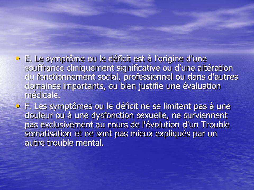 E. Le symptôme ou le déficit est à l'origine d'une souffrance cliniquement significative ou d'une altération du fonctionnement social, professionnel o