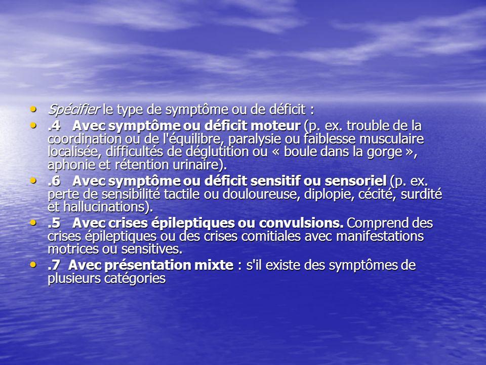 Spécifier le type de symptôme ou de déficit : Spécifier le type de symptôme ou de déficit :.4 Avec symptôme ou déficit moteur (p. ex. trouble de la co