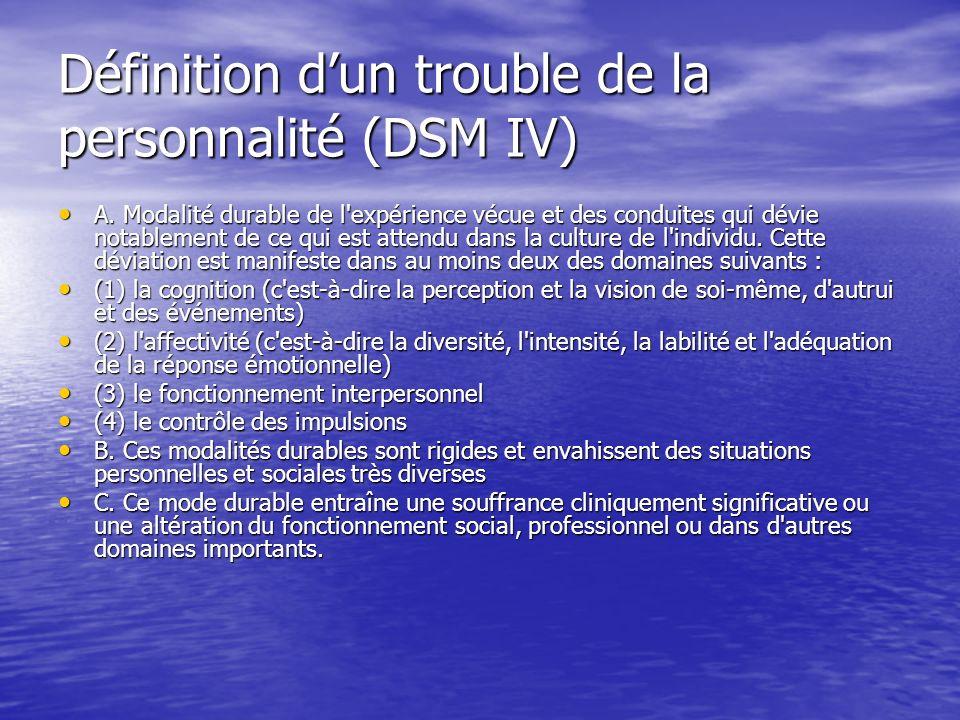 Définition dun trouble de la personnalité (DSM IV) A. Modalité durable de l'expérience vécue et des conduites qui dévie notablement de ce qui est atte