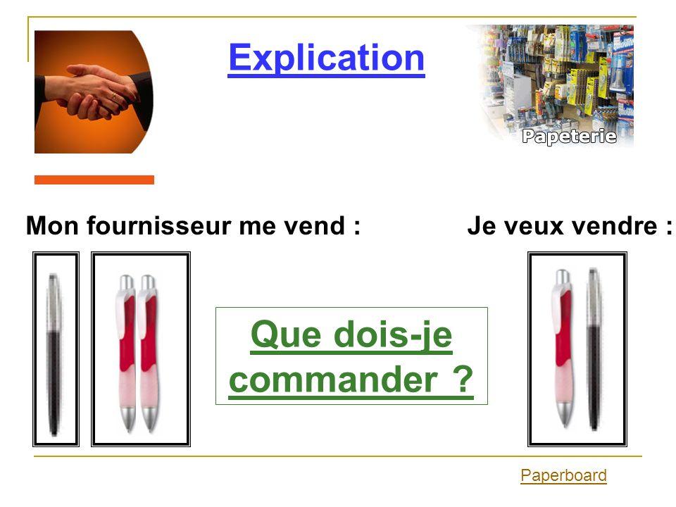Explication Paperboard Je veux vendre :Mon fournisseur me vend : Que dois-je commander ?
