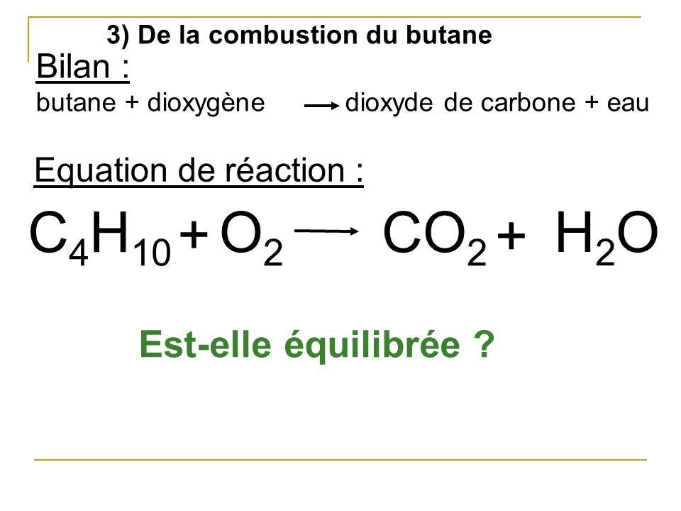 3) De la combustion du butane Bilan : butane + dioxygène dioxyde de carbone + eau C 4 H 10 O2O2 + CO 2 H2OH2O + Equation de réaction : Est-elle équili