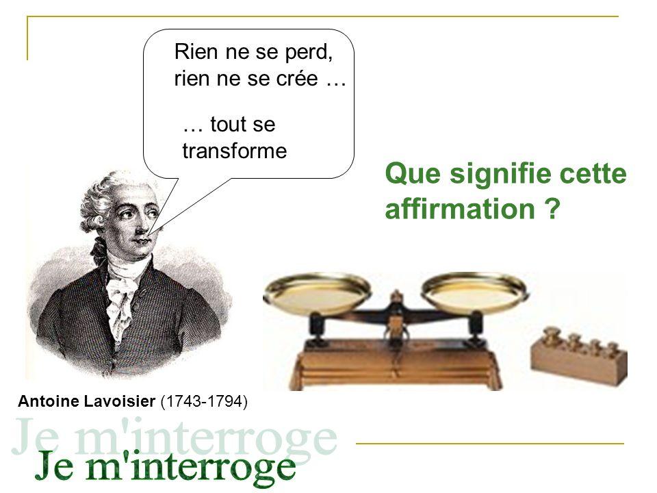 Antoine Lavoisier (1743-1794) Rien ne se perd, rien ne se crée … … tout se transforme Que signifie cette affirmation ?