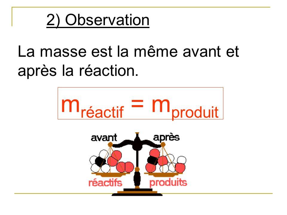 CH 4 O2O2 +CO 2 H2OH2O + Equation de réaction : 2 2 Pour traduire la conservation des atomes au cours dune transformation chimique, on place des coefficients devant les formules.