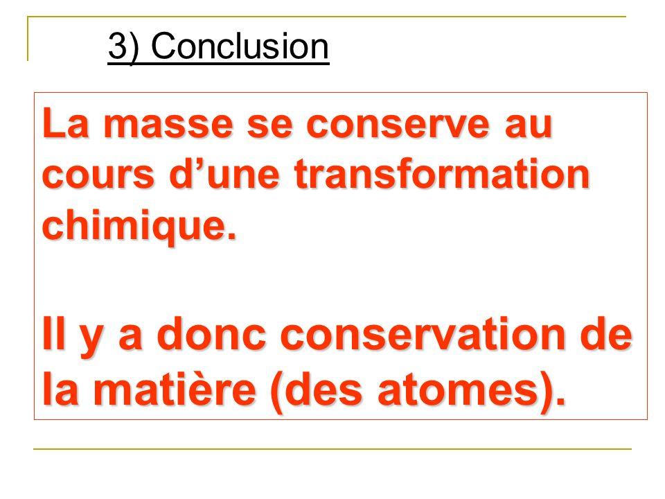 3) Conclusion La masse se conserve au cours dune transformation chimique. Il y a donc conservation de la matière (des atomes).