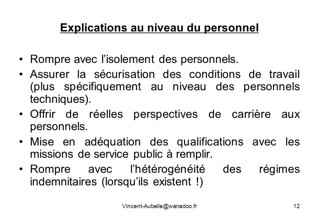 Vincent-Aubelle@wanadoo.fr12 Explications au niveau du personnel Rompre avec lisolement des personnels. Assurer la sécurisation des conditions de trav