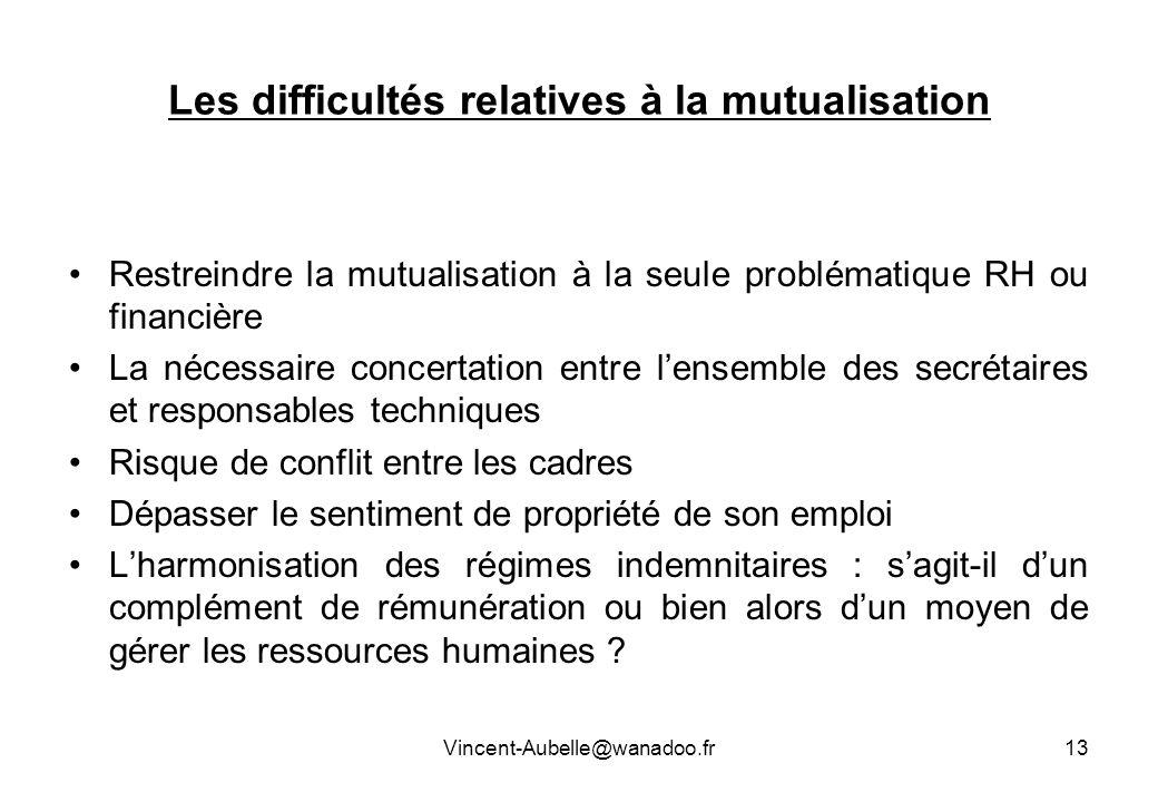 Vincent-Aubelle@wanadoo.fr13 Les difficultés relatives à la mutualisation Restreindre la mutualisation à la seule problématique RH ou financière La né