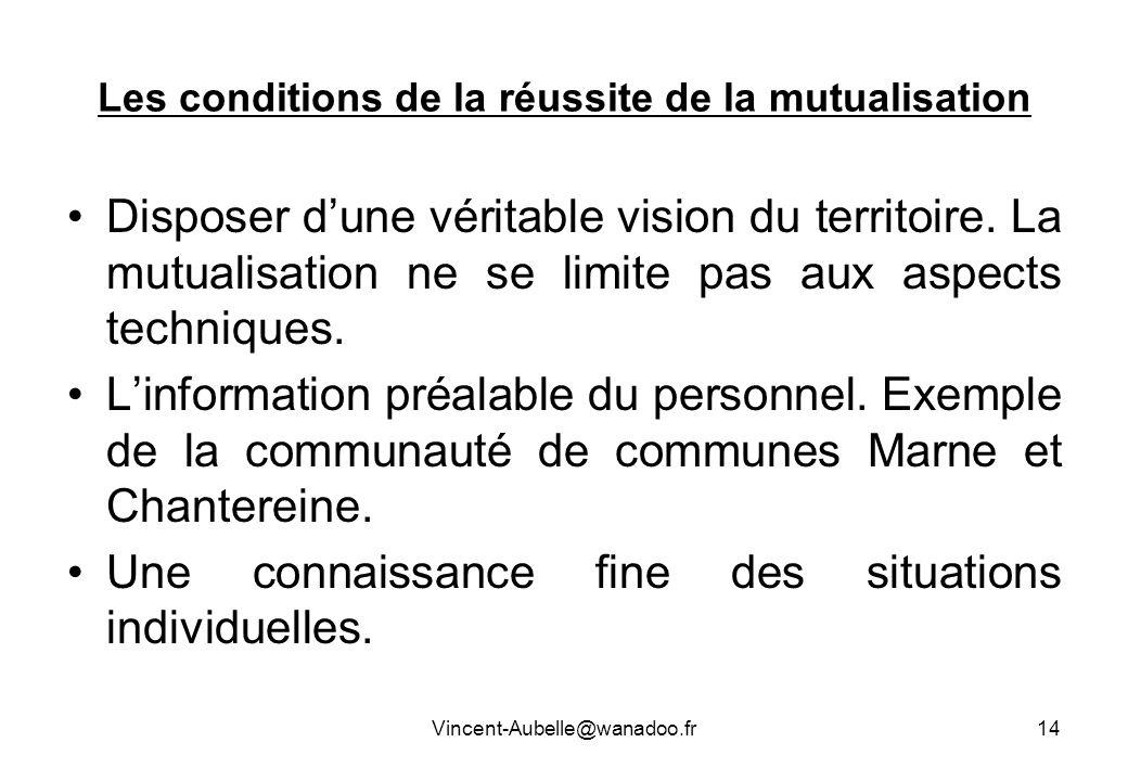 Vincent-Aubelle@wanadoo.fr14 Les conditions de la réussite de la mutualisation Disposer dune véritable vision du territoire. La mutualisation ne se li