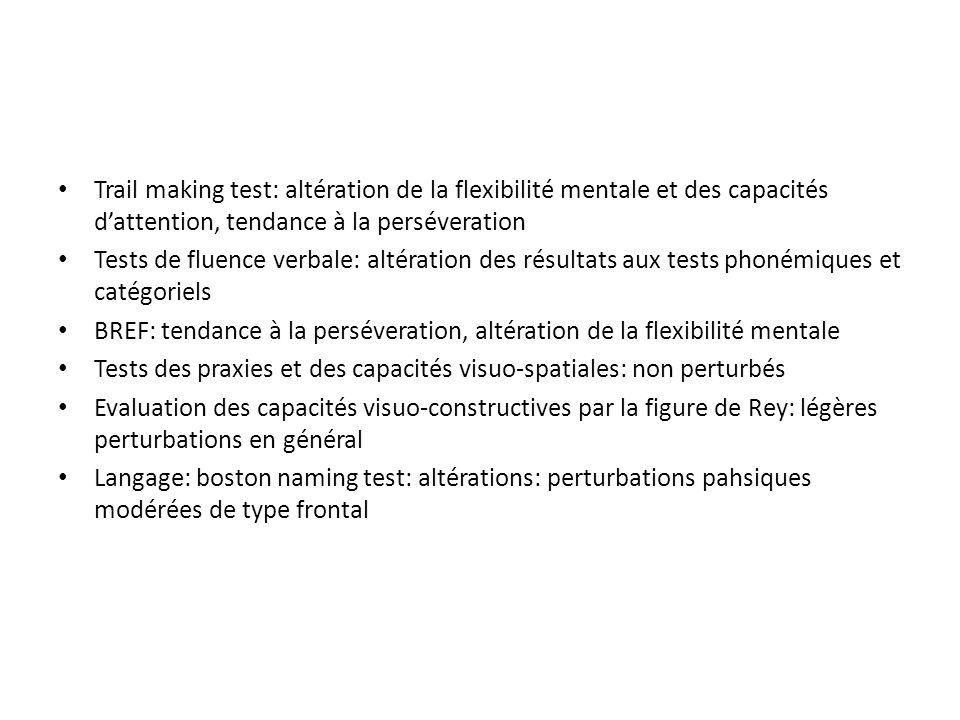 Trail making test: altération de la flexibilité mentale et des capacités dattention, tendance à la perséveration Tests de fluence verbale: altération