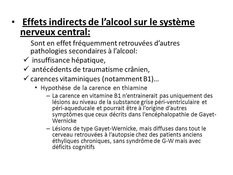 Effets indirects de lalcool sur le système nerveux central: Sont en effet fréquemment retrouvées dautres pathologies secondaires à lalcool: insuffisan