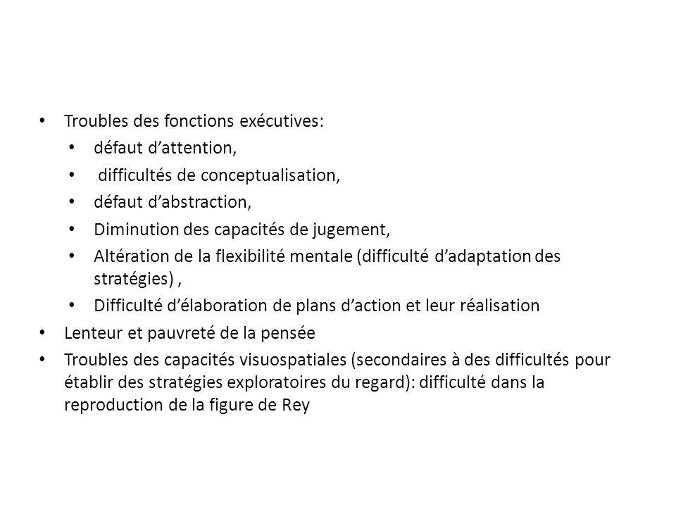 Troubles des fonctions exécutives: défaut dattention, difficultés de conceptualisation, défaut dabstraction, Diminution des capacités de jugement, Alt