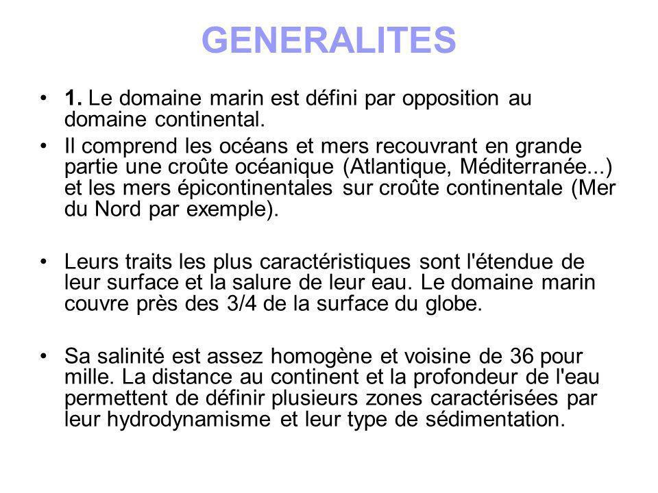 GENERALITES 1. Le domaine marin est défini par opposition au domaine continental. Il comprend les océans et mers recouvrant en grande partie une croût