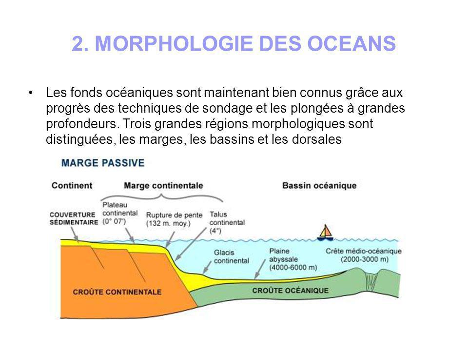 2.1 Les marges océaniques Ce sont les limites du domaine marin; elles sont encore appelées marges continentales.