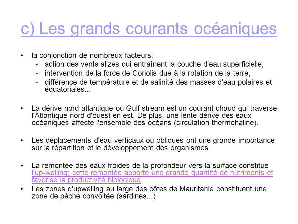 c) Les grands courants océaniques la conjonction de nombreux facteurs: -action des vents alizés qui entraînent la couche d'eau superficielle, -interve