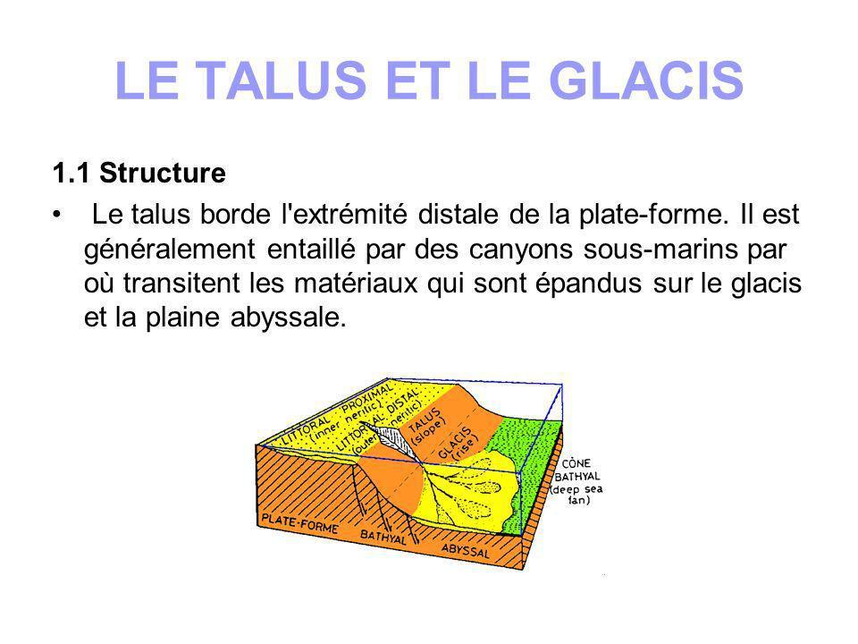 1.2 Transport des matériaux Les matériaux proviennent de la plate-forme: les détritiques issus du continent ou les carbonates de la production biologique s y accumulent ; tout déséquilibre déclenche un déplacement gravitaire vers le glacis.