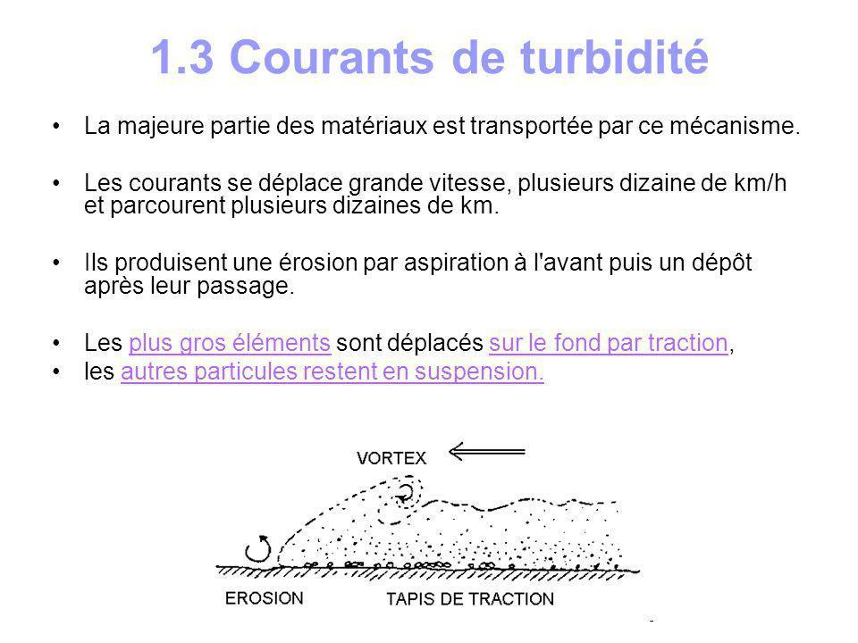 1.4 Cône sous-marin profond Les matériaux transportés par courant de turbidité s accumulent en bas du talus pour former un éventail sous- marin nommé encore cône bathyal ( deep sea fan ).