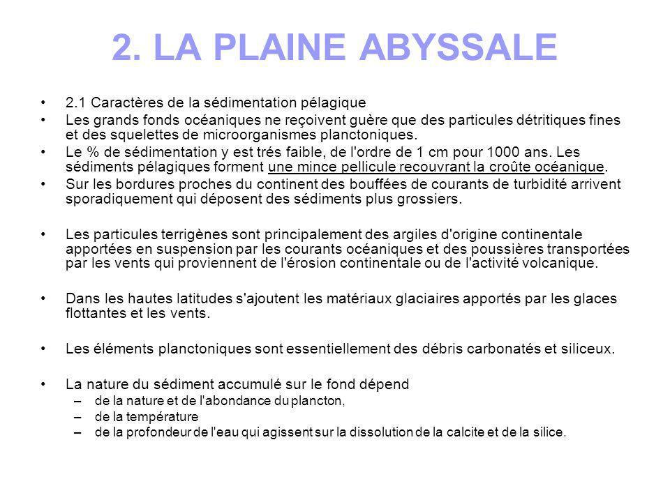 2. LA PLAINE ABYSSALE 2.1 Caractères de la sédimentation pélagique Les grands fonds océaniques ne reçoivent guère que des particules détritiques fines