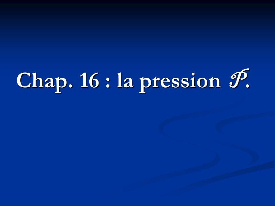 Chap. 16 : la pression P.