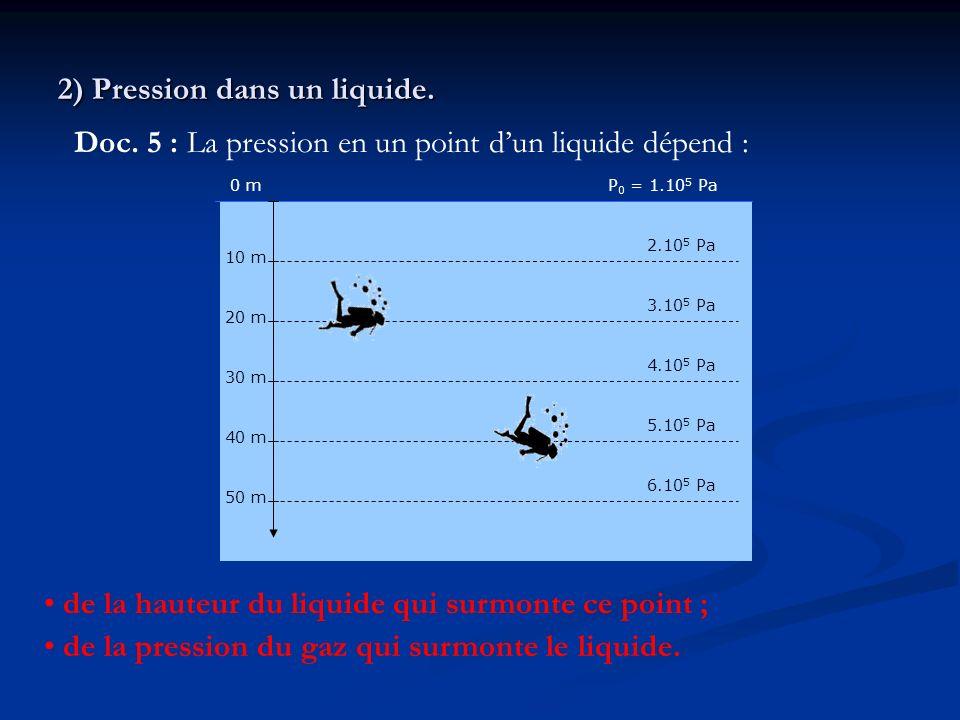 2) Pression dans un liquide. Doc. 5 : La pression en un point dun liquide dépend : 0 m 10 m 30 m 20 m 50 m 40 m P 0 = 1.10 5 Pa 2.10 5 Pa 3.10 5 Pa 4.
