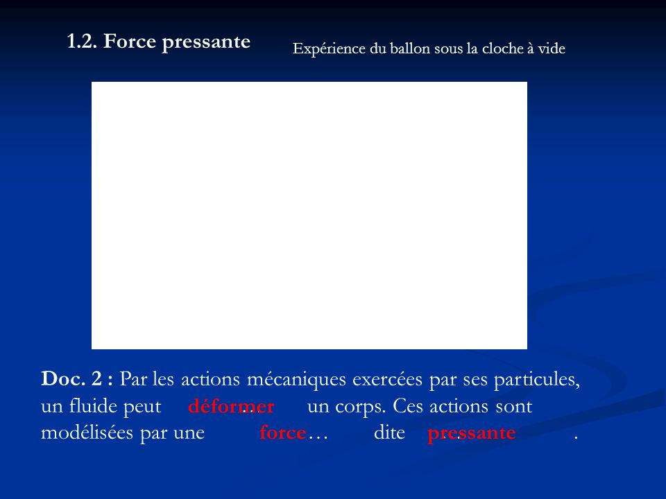 1.2. Force pressante Doc. 2 : Par les actions mécaniques exercées par ses particules, un fluide peut…un corps. Ces actions sont modélisées par une …di