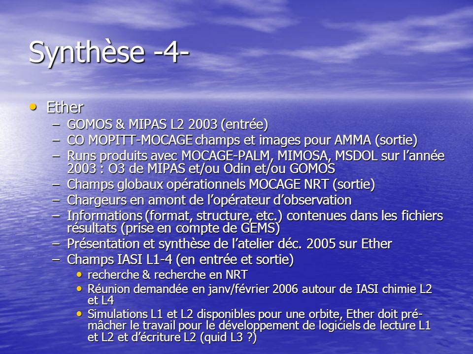 Synthèse -4- Ether Ether –GOMOS & MIPAS L2 2003 (entrée) –CO MOPITT-MOCAGE champs et images pour AMMA (sortie) –Runs produits avec MOCAGE-PALM, MIMOSA, MSDOL sur lannée 2003 : O3 de MIPAS et/ou Odin et/ou GOMOS –Champs globaux opérationnels MOCAGE NRT (sortie) –Chargeurs en amont de lopérateur dobservation –Informations (format, structure, etc.) contenues dans les fichiers résultats (prise en compte de GEMS) –Présentation et synthèse de latelier déc.
