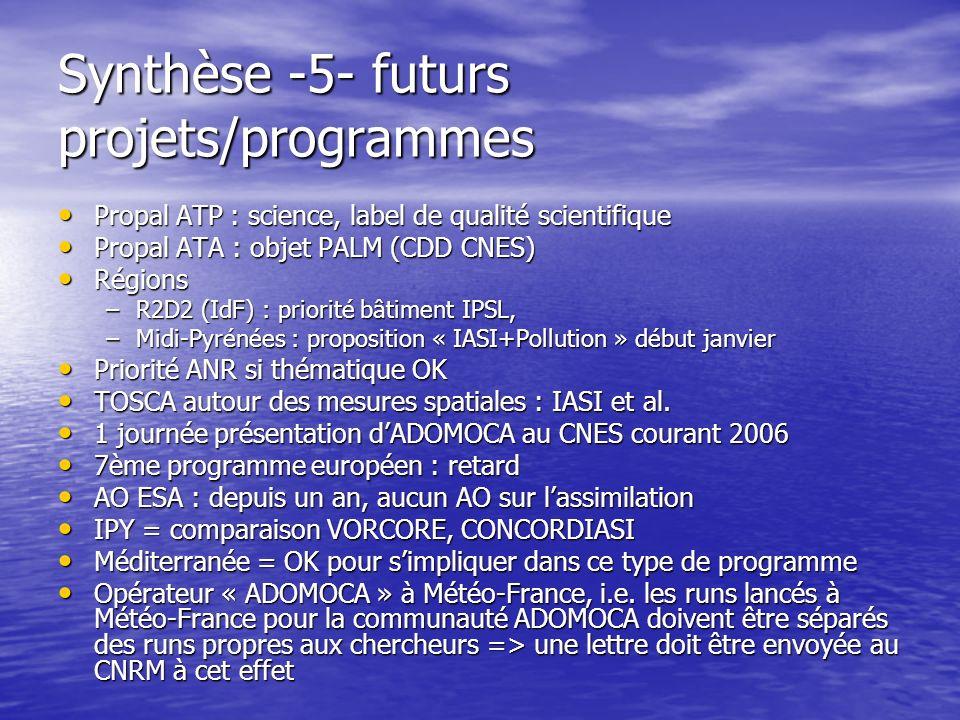 Synthèse -5- futurs projets/programmes Propal ATP : science, label de qualité scientifique Propal ATP : science, label de qualité scientifique Propal ATA : objet PALM (CDD CNES) Propal ATA : objet PALM (CDD CNES) Régions Régions –R2D2 (IdF) : priorité bâtiment IPSL, –Midi-Pyrénées : proposition « IASI+Pollution » début janvier Priorité ANR si thématique OK Priorité ANR si thématique OK TOSCA autour des mesures spatiales : IASI et al.