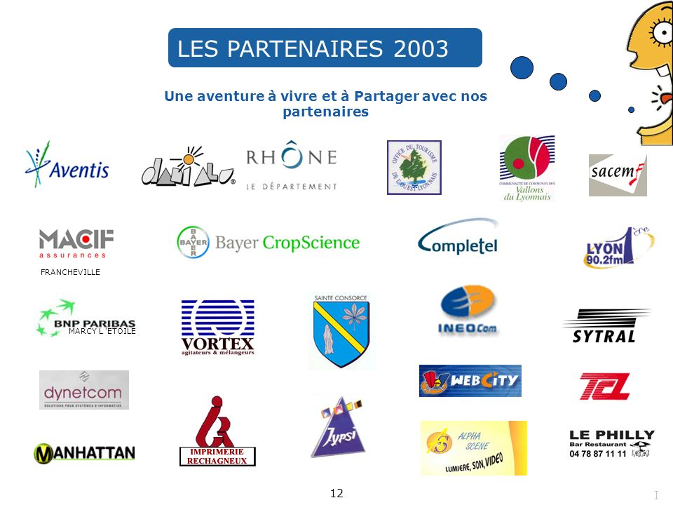 Une aventure à vivre et à Partager avec nos partenaires FRANCHEVILLE MARCY L ETOILE LES PARTENAIRES 2003 * 12 I