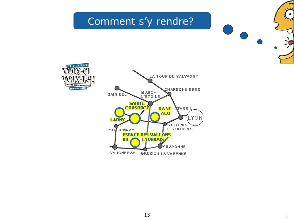 Comment sy rendre? 13 I