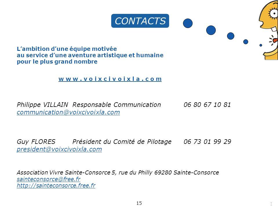 Lambition dune équipe motivée au service dune aventure artistique et humaine pour le plus grand nombre CONTACTS Philippe VILLAIN Responsable Communica