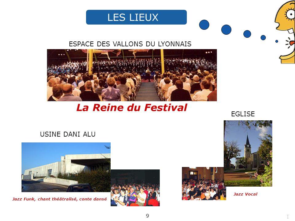 USINE DANI ALU Jazz Funk, chant théâtralisé, conte dansé La Reine du Festival ESPACE DES VALLONS DU LYONNAIS Jazz Vocal EGLISE 1200 places LES LIEUX 9