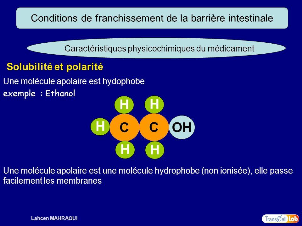 Lahcen MAHRAOUI Conditions de franchissement de la barrière intestinale Caractéristiques physicochimiques du médicament Solubilité et polarité Une mol