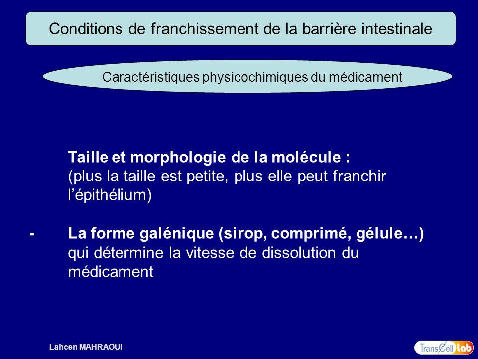 Lahcen MAHRAOUI Conditions de franchissement de la barrière intestinale Caractéristiques physicochimiques du médicament Taille et morphologie de la mo