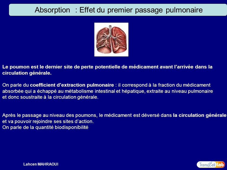 Lahcen MAHRAOUI Absorption : Effet du premier passage pulmonaire Le poumon est le dernier site de perte potentielle de médicament avant larrivée dans
