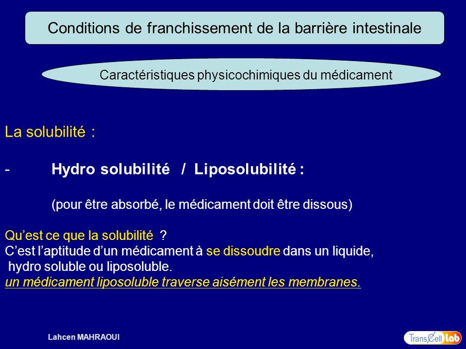 Lahcen MAHRAOUI Conditions de franchissement de la barrière intestinale Caractéristiques physicochimiques du médicament La solubilité : - Hydro solubi