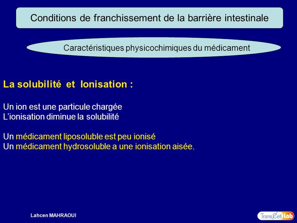 Lahcen MAHRAOUI Conditions de franchissement de la barrière intestinale Caractéristiques physicochimiques du médicament La solubilité et Ionisation :