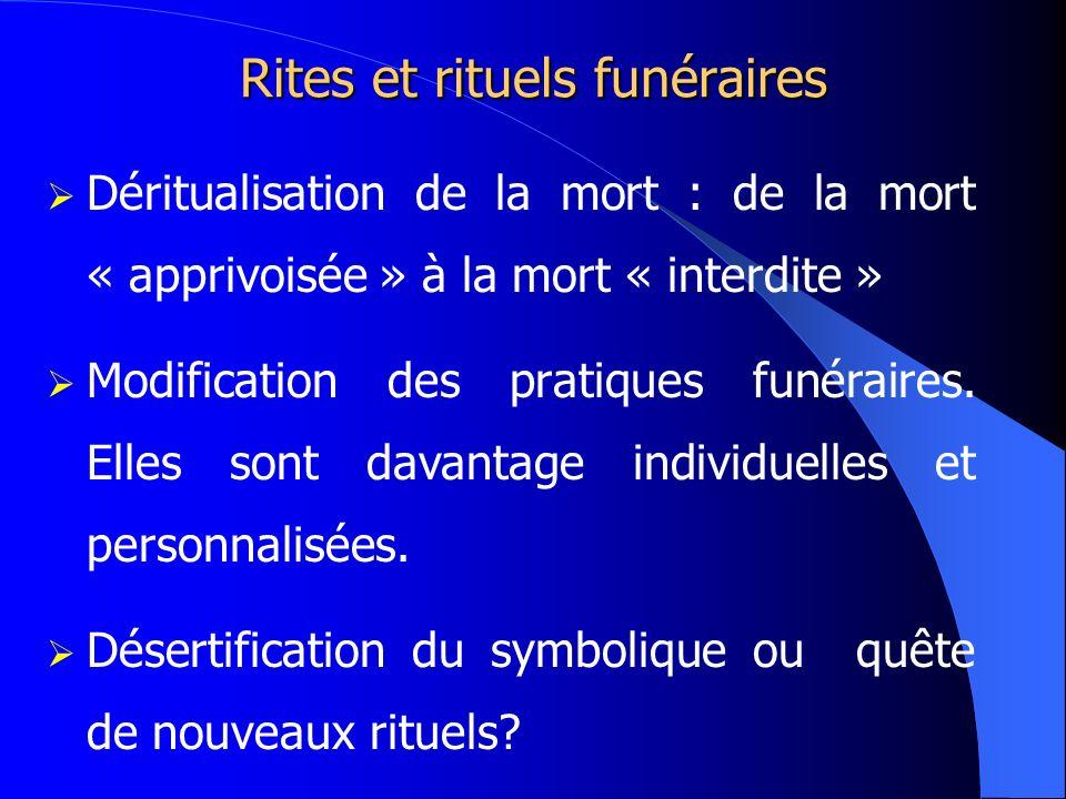 Rites et rituels funéraires Déritualisation de la mort : de la mort « apprivoisée » à la mort « interdite » Modification des pratiques funéraires. Ell