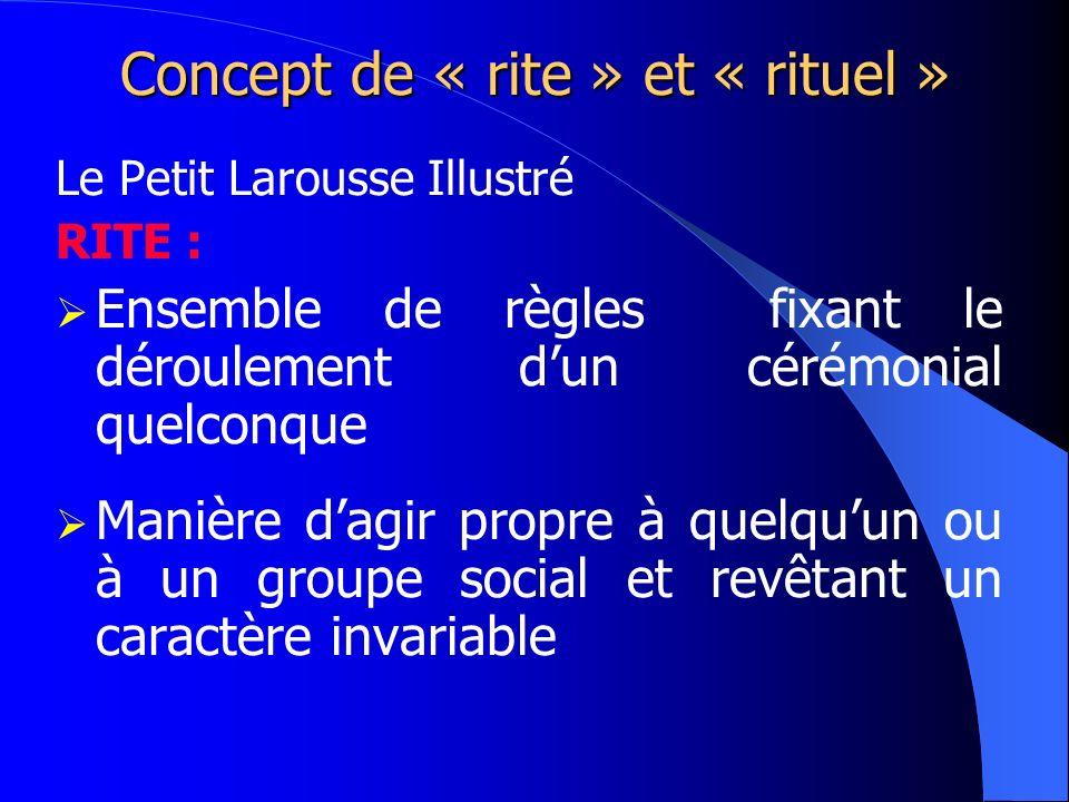 Concept de « rite » et « rituel » Le Petit Larousse Illustré RITE : Ensemble de règles fixant le déroulement dun cérémonial quelconque Manière dagir p