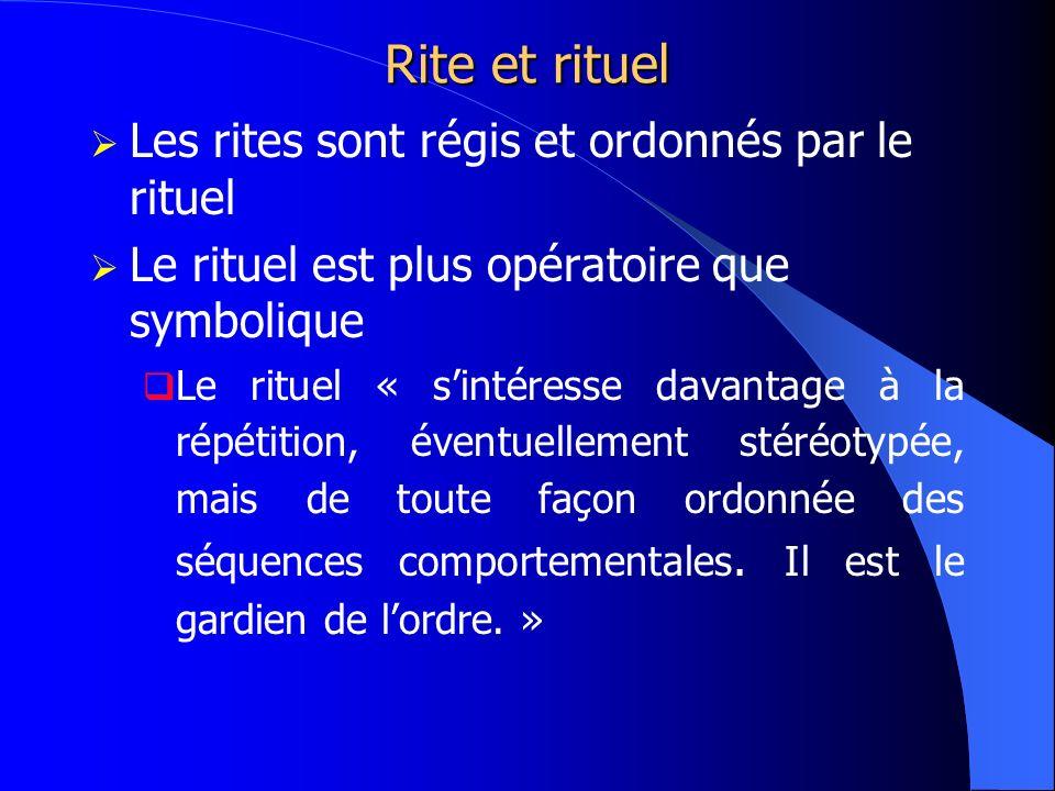 Rite et rituel Les rites sont régis et ordonnés par le rituel Le rituel est plus opératoire que symbolique Le rituel « sintéresse davantage à la répét