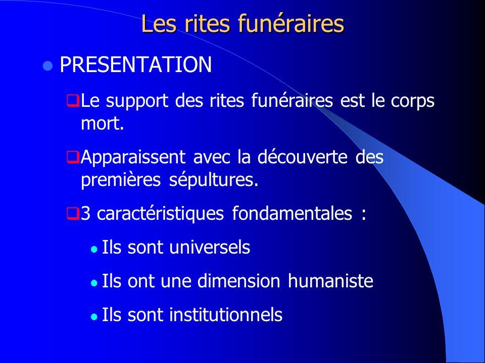 Les rites funéraires PRESENTATION Le support des rites funéraires est le corps mort. Apparaissent avec la découverte des premières sépultures. 3 carac
