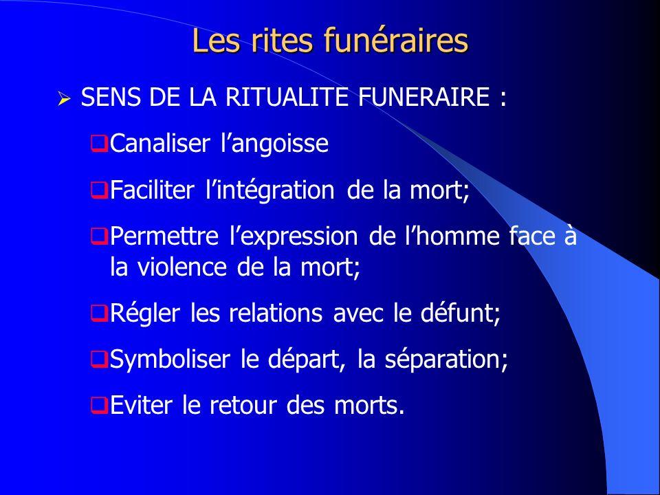 Les rites funéraires SENS DE LA RITUALITE FUNERAIRE : Canaliser langoisse Faciliter lintégration de la mort; Permettre lexpression de lhomme face à la