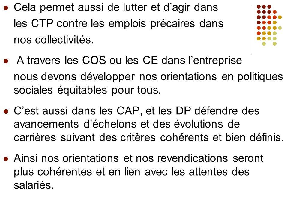 Cela permet aussi de lutter et dagir dans les CTP contre les emplois précaires dans nos collectivités.