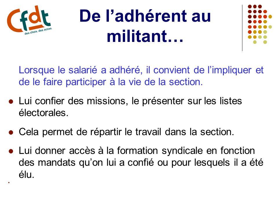 De ladhérent au militant… Lorsque le salarié a adhéré, il convient de limpliquer et de le faire participer à la vie de la section.