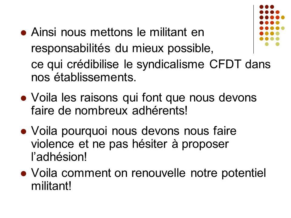 Ainsi nous mettons le militant en responsabilités du mieux possible, ce qui crédibilise le syndicalisme CFDT dans nos établissements.