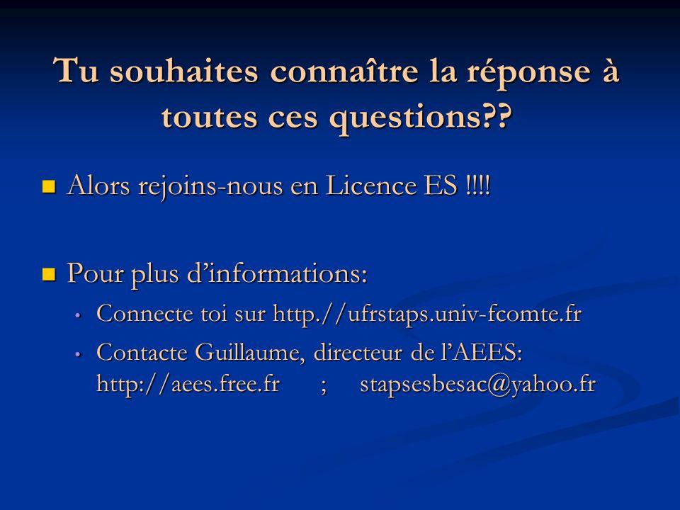 Tu souhaites connaître la réponse à toutes ces questions?? Alors rejoins-nous en Licence ES !!!! Alors rejoins-nous en Licence ES !!!! Pour plus dinfo