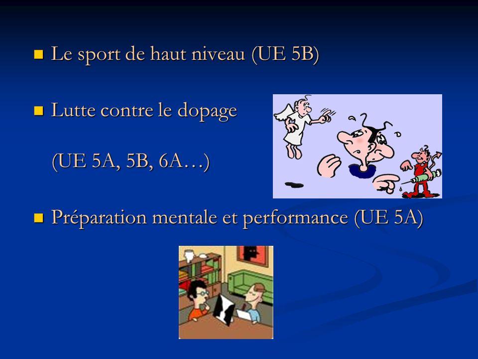 Le sport de haut niveau (UE 5B) Le sport de haut niveau (UE 5B) Lutte contre le dopage (UE 5A, 5B, 6A…) Lutte contre le dopage (UE 5A, 5B, 6A…) Prépar