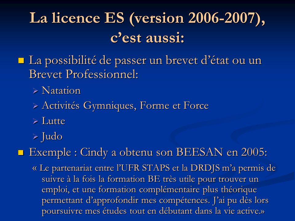 La licence ES (version 2006-2007), cest aussi: La possibilité de passer un brevet détat ou un Brevet Professionnel: La possibilité de passer un brevet